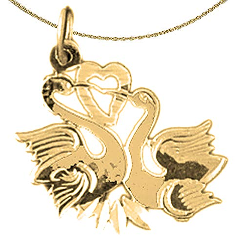 - Jewels Obsession Solid 14K Yellow Gold Swan Pendant with 16
