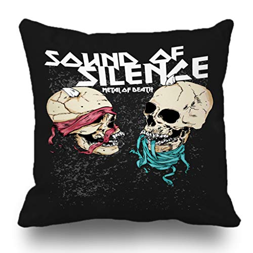 Batmerry Halloween Theme Decorative Pillow Covers 18 x 18 inch,Skull Soude of Silence Metal of Death Vintage Rose Cross Punk Music Fashion Cool Black Throw Pillow Covers]()
