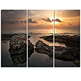 Design Art MT11036-3P Dark Africa Beach with Ancient Ruins Oversized Beach Metal Wall Art (3 Piece),Brown,36x28''