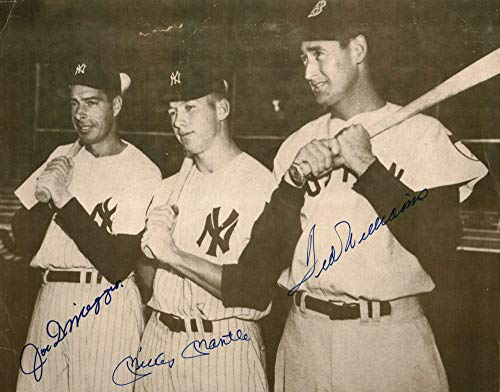 Mickey Mantle Ted Williams Joe DiMaggio Signed 11x14 Photo Beckett BAS
