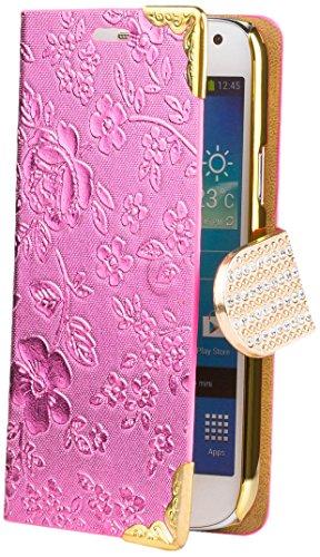 Samsung Galaxy S4 MINI   iCues Chrome Flower Wallet Pink   [Screen Protector Included] Floral Folio Flip Case Crystal Diamond Rhinestone Bling Glitter Women Girl - Samsung S4 Mini Case Female