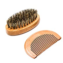 TOPBeauty Wooden Beard Brush Comb,Luxebell Handmade Boar Bristle Beard Care Kit with Small Bag for Men's Beard Grooming