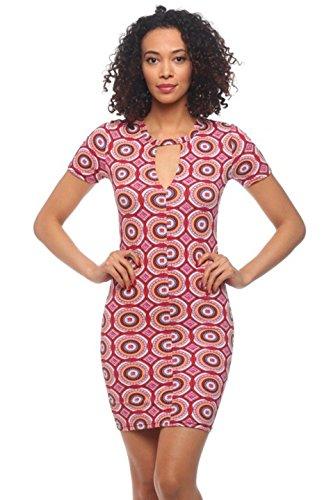 2LUV Women's Short Sleeve Body-Con Dress Red Orange L