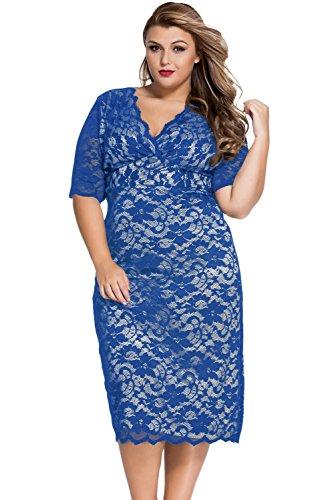 Neue Frau Plus Größe Blue Lace Midi Kleid Büro Kleid Casual Abend ...