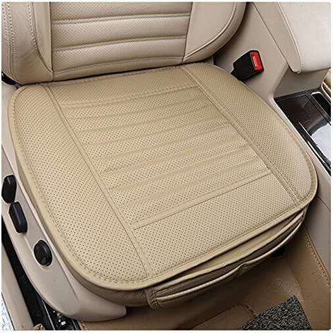 EverFablous Car Seat Cover, 2 PCS PU Leather Bamboo Charcoal Breathable Comfortable Car Seat Cushion Pad Mat Full Cover the Seat Edge for Auto Front Seat, Single Seat Without Backrest (Beige-2 PCS)