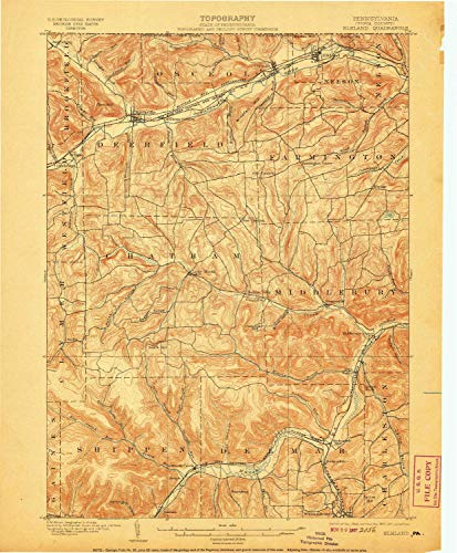 YellowMaps Elkland PA topo map, 1:62500 Scale, 15 X 15 Minute, Historical, 1900, Updated 1907, 19.9 x 16.5 in - ()