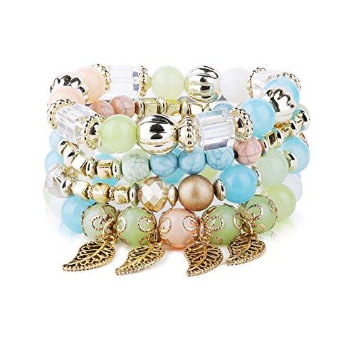 (Udalyn 4 Pcs Colorful Beaded Bracelets for Women Girls Boho Evil Eye Bracelet Elastic Leaf)
