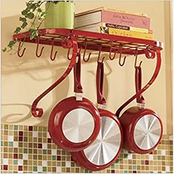 VDOMUS Square Grid Wall Mount Pot Rack, Bookshelf Rack With 10 Hooks,  Kitchen Cookware, 24 By 10 Inch, Red