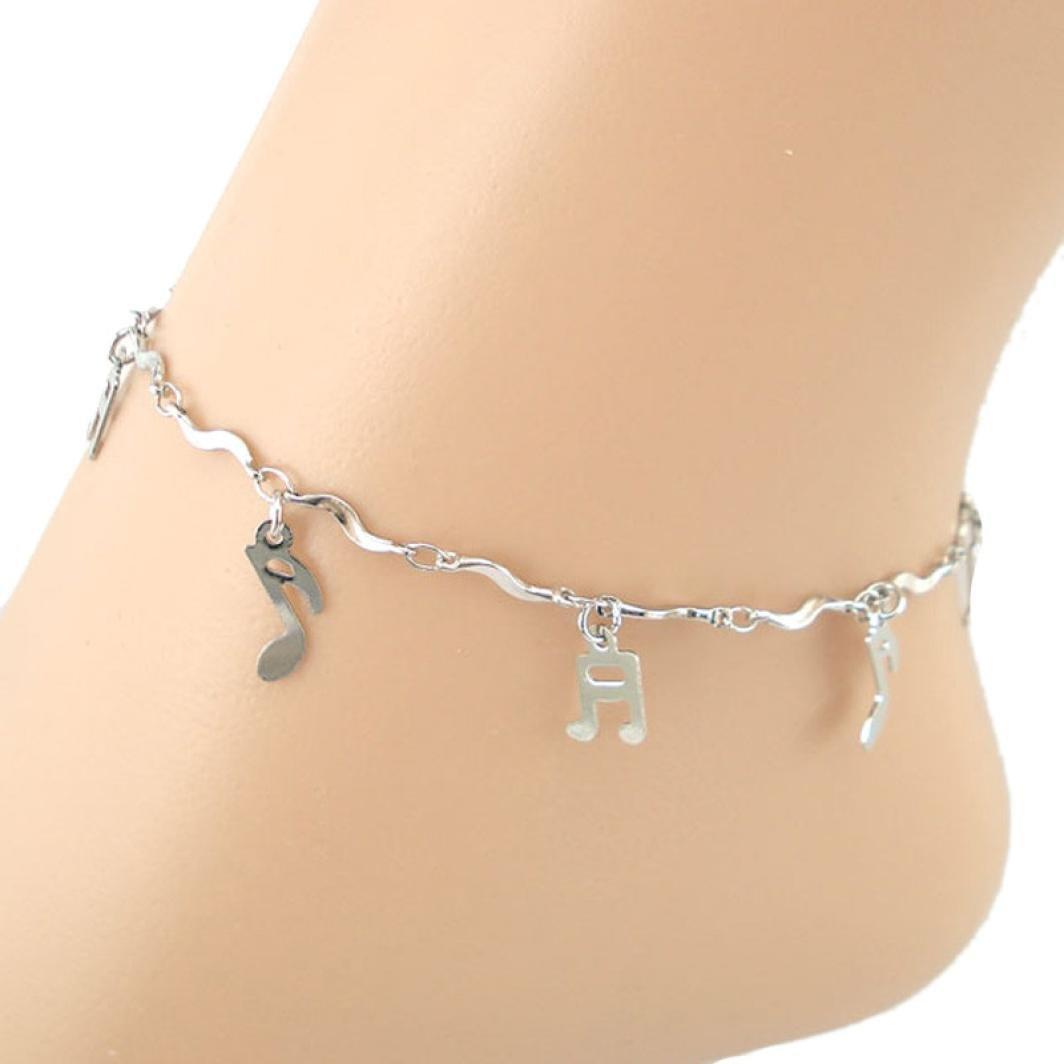 Leyorie Curve Musical Note Symbol Anklets Sandal Barefoot Beach Foot Jewelry Ankle Bracelet Adjustable