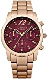 Lipsy Women's Quartz Watch with Red Dial Analogue Display and Rose Gold Alloy Bracelet LP461