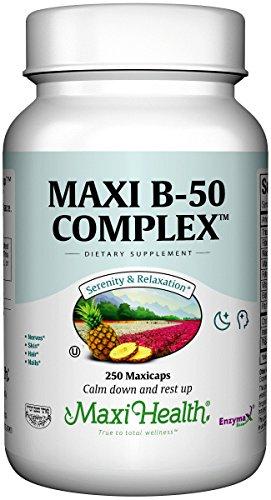 Maxi Health Vitamin B-50 Complex - with Inositol & Biotin - Stress Formula - 250 Capsules - Kosher