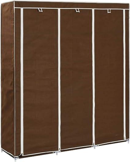 Armario con Compartimentos y Barras, Armario Plegable con Puerta Plegable y Cremallera para Dormitorio, Funda de Camping, marrón, 150 x 45 x 175 cm de Tela: Amazon.es: Hogar