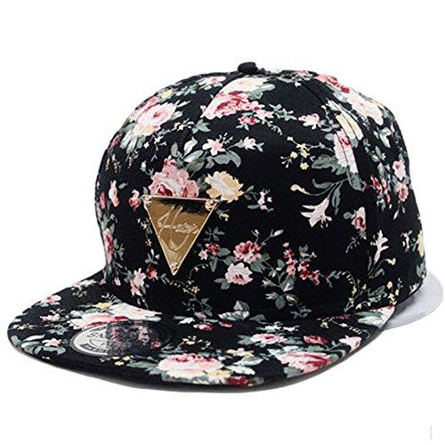 166c852e823af Yonala Fashion Floral Snapback Hip Hop Hat Flat Peaked Baseball Cap for  Four Seasons