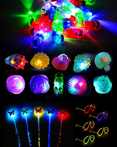 55 Pieces LED Light Up Party Favor Toy Pack–35 LED Finger Lights, 10 LED Flashing Bumpy Rings, 5 Flashing Fiber Hair Lights and 5 Glow Stick Glasses