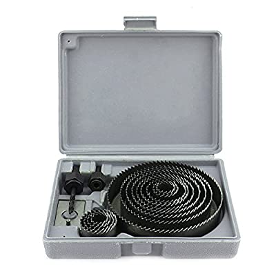 Yosoo 1 X HOLE SAW SET - 16 pcs Carbon Steel Metal Wood Hole Saw Kit in Case with Mandrels and Install Plate for Door Knob Lock