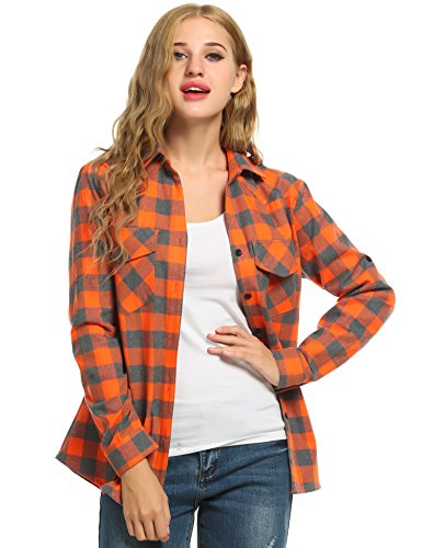 Women's Plaid Flannel Shirt, Roll Up Long Sleeve Checkered Cotton Shirt (X-Large, - Shirt Plaid Orange