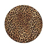 iPrint Cotton Linen Round Tablecloth,Animal Print Decor,Wild Animal Leopard Skin Pattern Wildlife Inspired Stylish Modern Illustration,Brown Beige,Dining Room Kitchen Table Cloth Cover