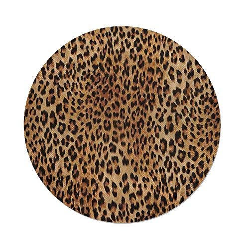 iPrint Cotton Linen Round Tablecloth,Animal Print Decor,Wild Animal Leopard Skin Pattern Wildlife Inspired Stylish Modern Illustration,Brown Beige,Dining Room Kitchen Table Cloth Cover by iPrint