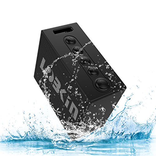 Lobkin X9 Wireless Bluetooth V4.2 Outdoor Speaker with 5W Driver ,IPX7 Waterproof Portable Loudspeaker with Built-in Mic, 10 Hours Playtime for iPhone Gift Pool Shower Beach Golf Meeting(Black)