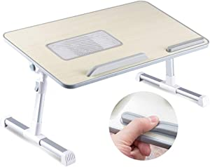 HOSL Laptop Bed Tray Table Adjustable Lap Desk Tablet Laptop Desk Laptop Stand Foldable Notebook Table Shelf Portable Reading Table Homework Desk Dinning Table (with USB Fan, Titanium Grey)