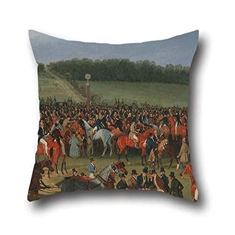 Oil Painting James Pollard - Epsom Races- The Betting Post Pillow Covers 20 X 20 Inches / 50 By 50 Cm Gift Or Decor For Lover,saloon,shop,living Room,christmas,office - Two - Toil Replacement