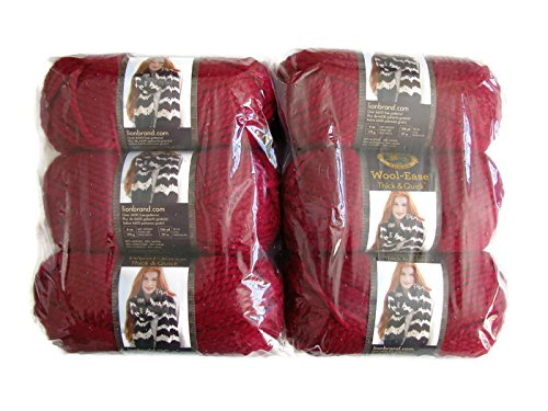 Lion Brand Yarn Wool-Ease Thick and Quick Yarn, (6-Pack), Cranberry 640-138