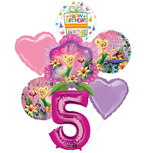 Tinkerbell 5th Birthday Party Supplies and Balloon Bouquet Decorations -