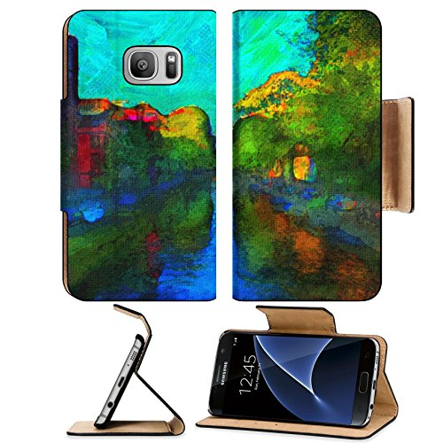 Liili Premium Samsung Galaxy S7 Flip Pu Leather Wallet Case oil painting of amsterdam canal early morning Photo 6997422 Simple Snap Carrying
