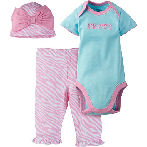 Gerber Baby-Girls Newborn 3 Piece Bodysuit Cap and Legging Set, Zebra, 3-6 Months (Cap Zebra Pink)