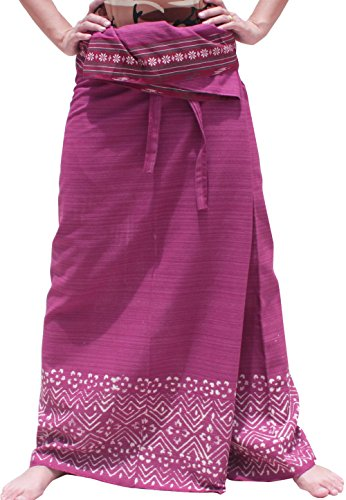 RaanPahMuang Brand Striped Cotton Japanese Samurai Belt Wrap Pants, X-Large, Cerise Pink