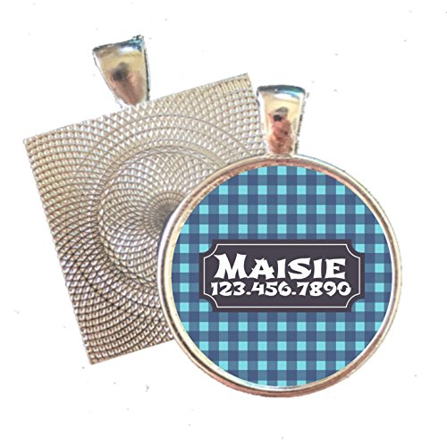 Gingham Plaid Silver Pet ID Tag by Sofa City Sweethearts