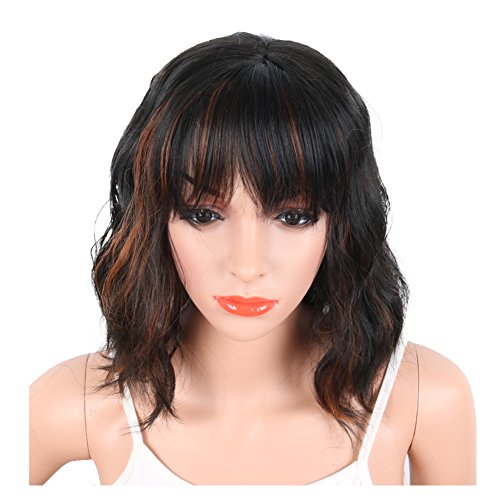 KRSI Fashion Hairstyles Black Mix Brown Synthetic Wigs for Black White African American Women Heat Resistant Natural Wavy Womens Custom Cosplay Party Wigs 14inch+Free Wig Cap