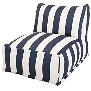 Majestic Home Goods Vertical Stripe Bean Bag Chair Lounger, Navy Blue