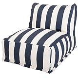 Majestic Home Goods Vertical Stripe Bean Bag Chair Lounger, Navy Blue