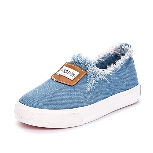 Price comparison product image Orlando Johanson New Boys and Girls Slip on Loafers Low-Top Rubber Sole Canvas Shoes(Toddler / Little Kid / Big Kid) Blue11 M US Little Kid Comfortable
