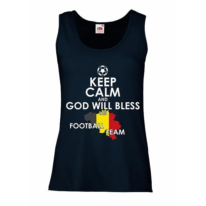 lepni.me Camisetas sin Mangas para Mujer Dios bendecirá al Equipo de fútbol Belga, La Bandera Belga: Amazon.es: Ropa y accesorios