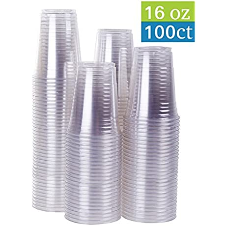 16 Oz Clear Plastic Party Cups 100 Count