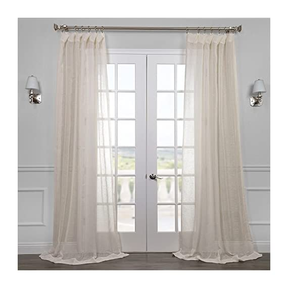"HPD Half Price Drapes SHLNCH-J0105-96 Linen Sheer Curtain, 50 x 96, Open Weave Cream - Sold Per Panel 3"" Pole pocket Dry Clean Only - living-room-soft-furnishings, living-room, draperies-curtains-shades - 51aYxXaSskL. SS570  -"
