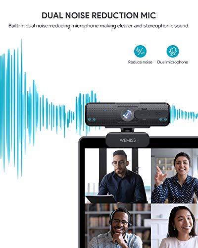 Webcam 1080P Full HD con Microfono, WEMISS Autofocus Webcam per PC con Correzione della Luce e Otturatore della Privacy VideoCamera per Video Chat Compatibile con Windows Mac e Android 5 spesavip