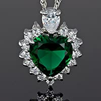 Lady Fashion JewelryHeart Cut Green Emerald Silver Tone Pendant Necklace