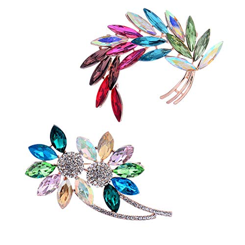 Diamond-Bordered Christmas Brooch Colored Crystal Rhinestone Brooches Pin Badge Brooches Pin Safety Accessories Jewelry Birthday Wedding Thanksgiving Party Gifts for Women Teen Girls (2Pcs Sunflower) (Crystal Brooch Sunflower)