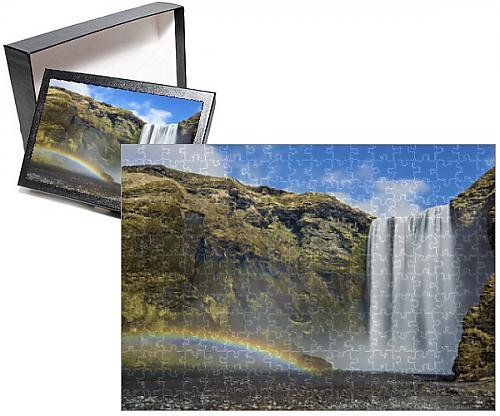 Photo Jigsaw Puzzle of Skogafoss Waterfall and rainbow, South Iceland, Iceland, Polar - Rainbow Waterfall