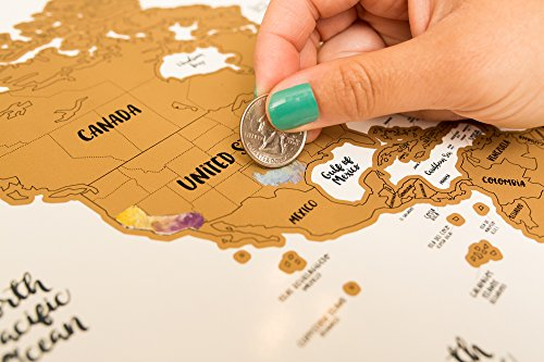 JetsetterMaps Scratch Your Travels Map Watercolor World w/USA, Canadian & Australian State Outlines - Map Canadian
