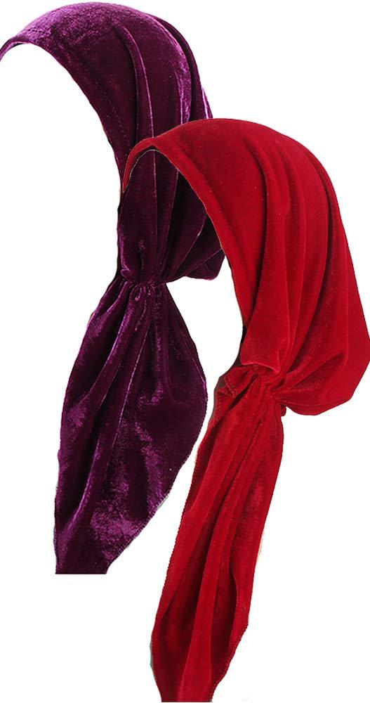 Ababalaya Women's Soft Luxury Velvet Pre-Tied Chemo Beanie Bandana Muslim Turban Tichel,Red+Purple