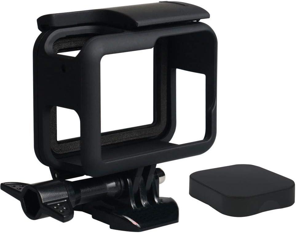 جراب Harwerrel Frame Mount Housing مع غطاء عدسات سيليكون لكاميرا GoPro Hero7 Hero 2018 Hero6 Hero5 سوداء