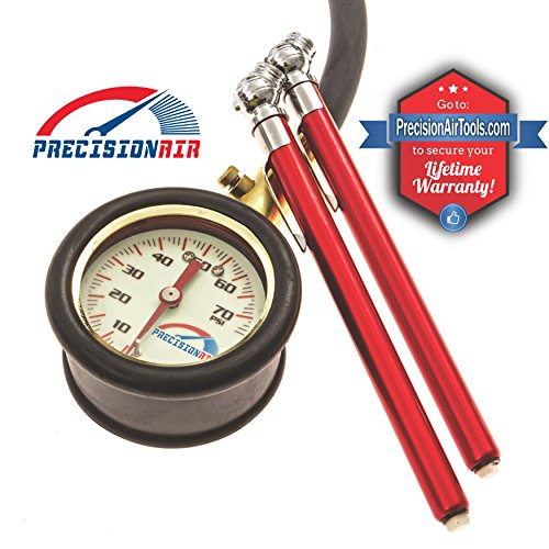 Gauge Pressure Pencil (Analog Tire Pressure Gauge [ With 2 BONUS Pencil Gauges ] Multi-Pack By Precision Air [ Glow in the Dark - Tire Air Pressure ] - Dial Indicator Hose Gauge with integrated bleeder valve - High Accuracy Calibration)