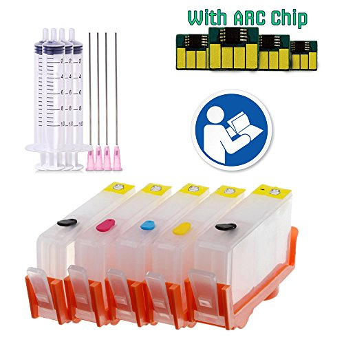 How To Refill Laser Printer Toner - INKUTEN TM Epmty Refillable Ink Cartridges for HP 564 (5 pack) With COC Smart Chips Resets Ink Level To Full (No Chip Resetter Required)