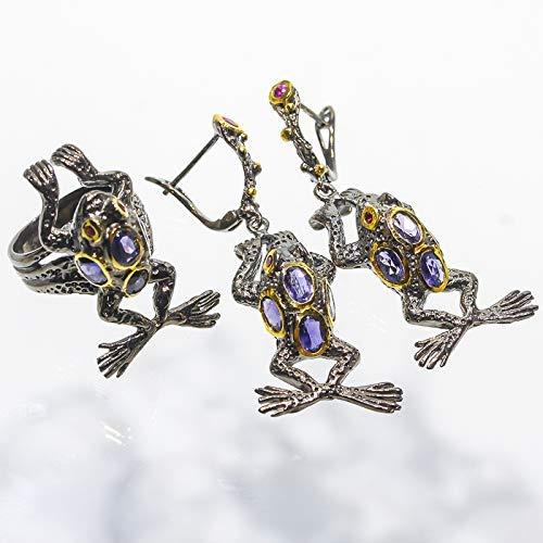Garnet Iolite Jewelry Set - Frog fine art Handmade set Natural Iolite with Garnet size 7.75 us