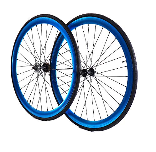 Wheel Set, Front and Fixed Gear Flip-Flop Rear Wheels 45mm Includes Tires and Inner Tubes (Anodized Blue)