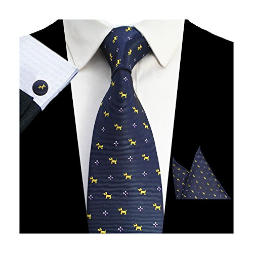 GUSLESON Gold Dog Pattern Necktie Navy Blue Tie Hanky Cufflinks (Pattern Mens Necktie)
